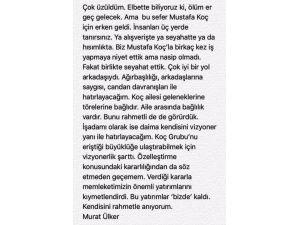 Ülker'den duygusal Mustafa Koç tweet'i