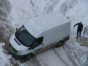Sürücüler Buz Tutan Yolda Zor Anlar Yaşadı