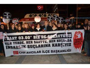 Avcılar'da saat 03.00'te 'tecavüz' protestosu
