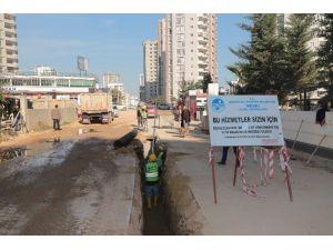 Mezitli'de Kanalizasyon Çalışmaları Sürüyor