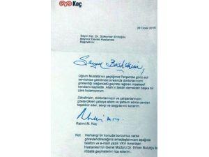 Rahmi Koç'tan Beykoz Devlet Hastanesi'ne Teşekkür Mektubu