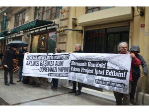 Narmanlı Han'daki restorasyon projesi protesto edildi