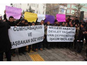 Van Depremzede İŞKUR işçileri kadro istiyor