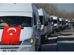 Bursa'da Servis Araçlarından Konvoylu Eylem