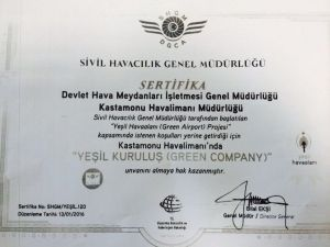 Kastamonu Havalimanı'na Yeşil Kuruluş Sertifikası Verildi