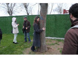 Kesilmesin diye ağaca sarıldı