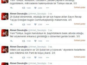 Başbakan Ahmet Davutoğlu'ndan 28 Şubat Açıklaması