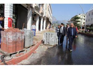 Başkan Gül, Yol Ve Kaldırım Çalışmalarını İnceledi