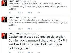 AK Partili Uzer'den CHP'li Ekici'ye Tepki