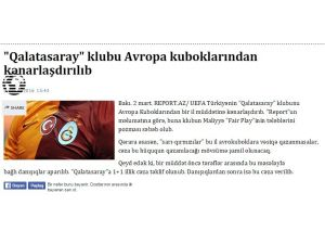 Galatasaray'ın Avrupa'dan men kararı Azerbaycan basınında