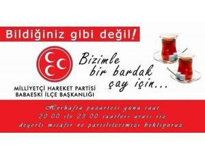 """MHP Babaeski İlçe Başkanlığından """"Bizimle Bir Bardak Çay İçin"""" Etkinliği"""