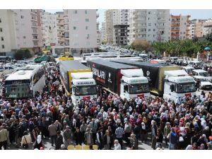 Mersin'de Yardım Tır'ları Ve Umreciler Gözyaşlarıyla Uğurlandı