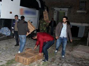 Sahte Logolu Otobüste 500 Bin TL Değerinde Kaçak Sigara Yakalandı