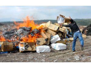 Uşak'ta 125 Bin Paket Kaçak Sigara İmha Edildi