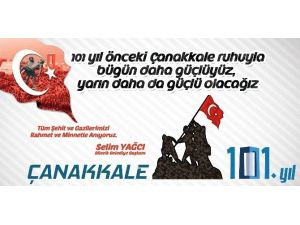 Belediye Başkanı Selim Yağcı'nın 18 Mart Çanakkale Zaferi'nin 101. Yıl Dönümü Mesajı