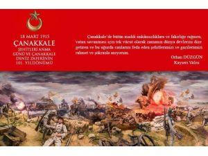 """Vali Düzgün'ün """"18 Mart Şehitleri Anma Günü Ve Çanakkale Deniz Zaferi'nin 101. Yıldönümü"""" Mesajı"""