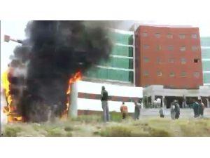 Devlet Hastanesi İnşaatındaki Yangın Amatör Kamerada