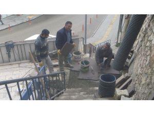 Bilecik'te Eski Merdivenler Bazalt Taşı İle Yenileniyor