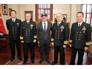 Gemi Komutanları, Büyükşehir Belediyesi'ni Ziyaret Etti