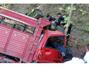 Freni Boşalan Kamyonetin Sürücüsü Ölümden Döndü