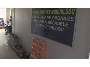 Edirne'de 296 şişe kaçak içki gele geçirildi