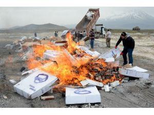 Aksaray'da Kaçak 1 Milyon 200 Bin Paket Sigara İmha Edildi