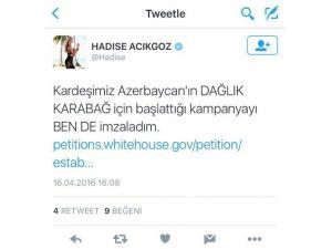 Hadise'den Azerbaycan'a Destek