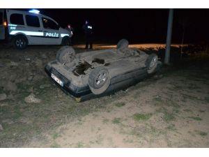 Kulu'da Otomobil Şarampole Takla Attı: 1 Yaralı