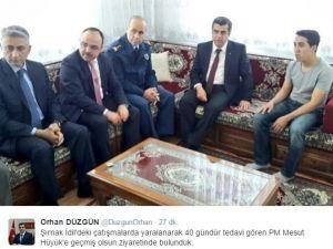Vali Orhan Düzgün Yaralı Polis Memuru Mesut Hüyük'ü Ziyaret Etti
