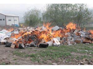 Erzincan'da 441 Bin 58 Paket Kaçak Sigara Yakılarak İmha Edildi