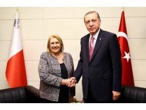 Cumhurbaşkanı Erdoğan Malta Cumhurbaşkanı Görüştü