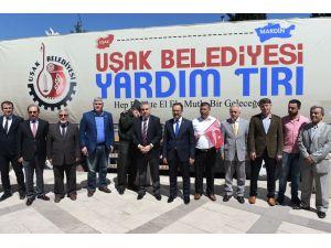 Uşak Belediyesi'nden Mardin Derik'e yardım TIR'ı