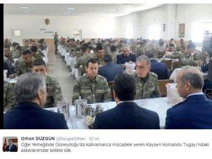 Vali Orhan Düzgün Öğle Yemeğini Komandolarla Birlikte Yedi