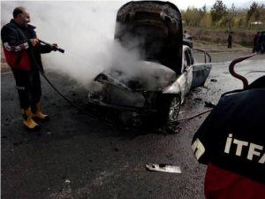 Ağrı'da Araç Yangını