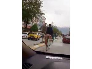 Trafikte İlerleyen AT Şaşırttı