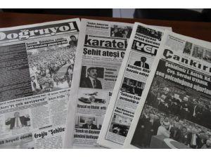 Çankırılı şehit için yerel gazeteler siyah çıktı
