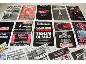 Gaziantep'te Yerel Gazetelerden Teröre Türk Bayraklı Tepki
