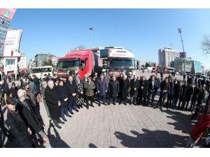 Gaziosmanpaşa'dan Halep'e yardım tırları dualarla yola çıktı
