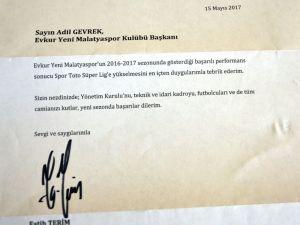 Fatih Terim'den Evkur Yeni Malatyaspor'a kutlama mesajı