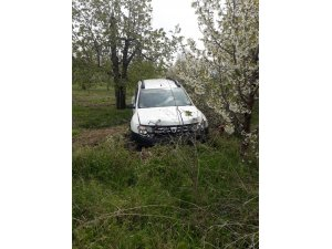 Araç ağaçlara çarptı, 1 yaralı