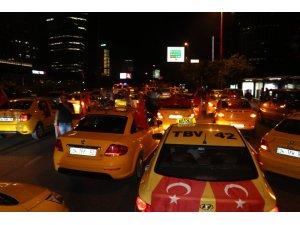 Taksiciler 'den İsrail Konsolosluğu önünde protesto
