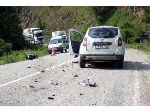 Tünel çıkışı cip ile motosiklet çarpıştı: 2 yaralı