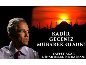 Başkan Acar'ın Kadir Gecesi mesajı
