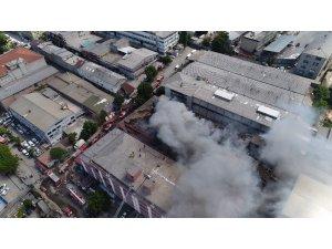 Zeytinburnu'nda iş merkezinde çıkan yangının son hali havadan görüntülendi