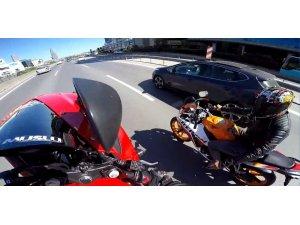 E-5 Karayolu'nda motosiklet terörü kamerada