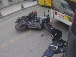 İstanbul'da motosikletli kadın sürücü ölümden kıl payı kurtuldu