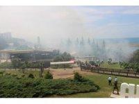 Samsun'da Amisos Tepesi alev alev yandı