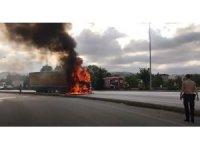 Samsun'da temizlik maddesi yüklü tır alev alev yandı