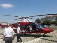 Yaralı işçi helikopterle hastaneye sevk edildi