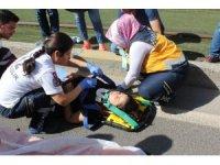 Kadın sürücü kadına çarptı